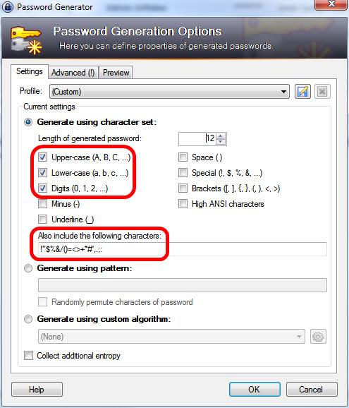 PasswordGenerator-Settings