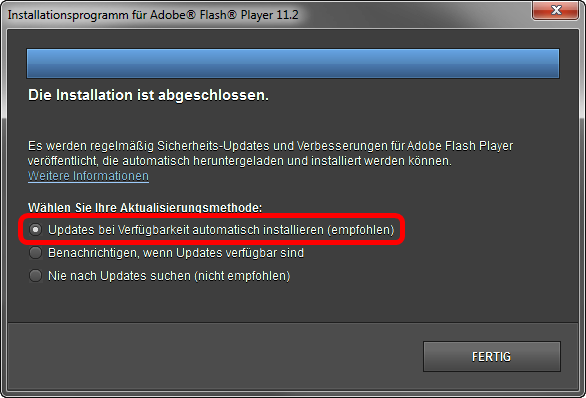Adobe Flash Player 4 Automatisch