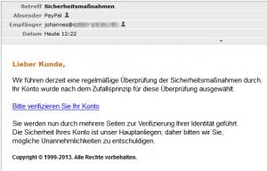 Internet-Sicherheit - Falsche E-Mail PayPal Sicherheitsmaßnahmen