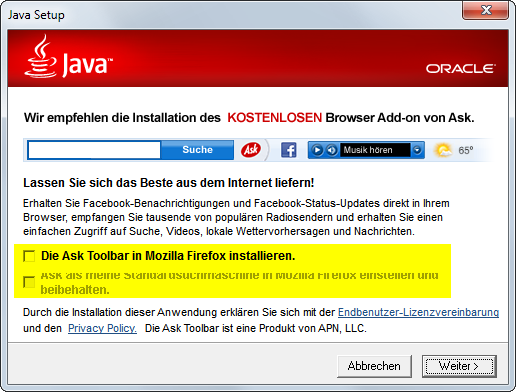 Java-Update 4 Ask Toolbar Schrott