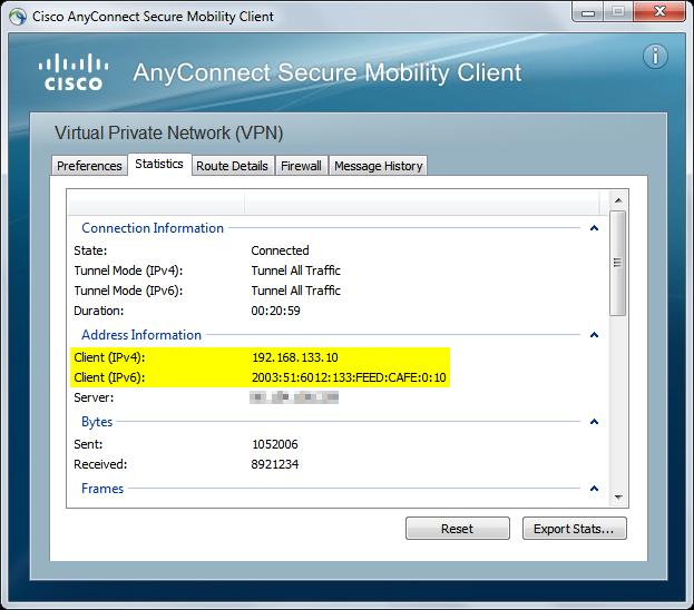 Cisco AnyConnect Statistics