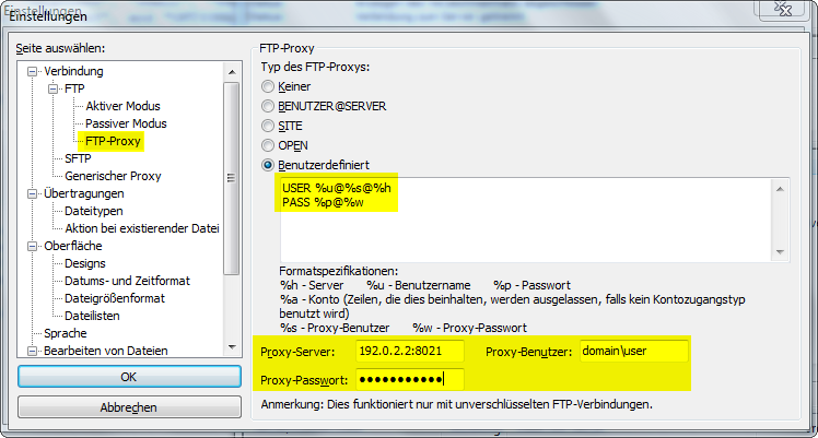 FileZilla Proxy Authentication Check Point Format