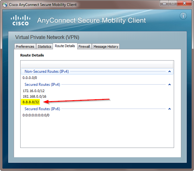 Split Cisco AnyConnect Route Details with 8.8.8.8