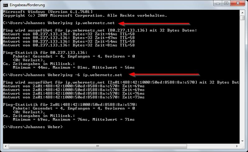 Split Windows 7 ping and ping -6