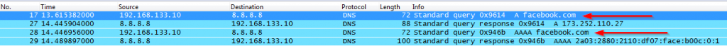 Split Wireshark with 8.8.8.8 ping directly both A and AAAA