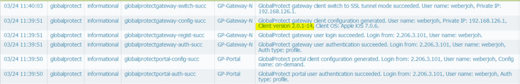 System Log - iPhone GlobalProtect App