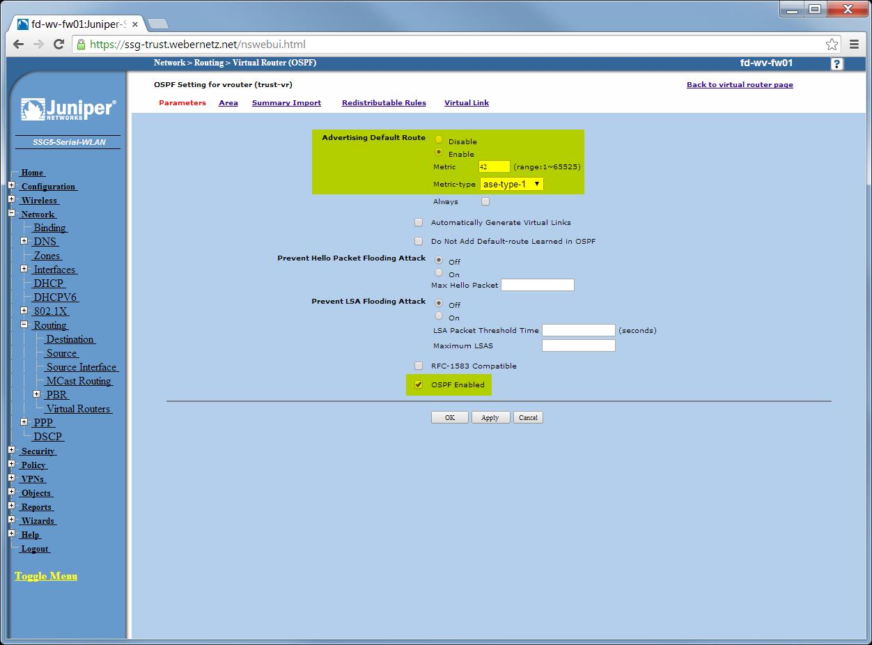 OSPF for IPv4 Test Lab: Cisco Router & ASA, Juniper SSG