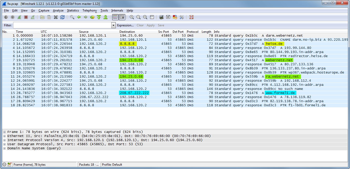 DNS-Proxy Test Wireshark