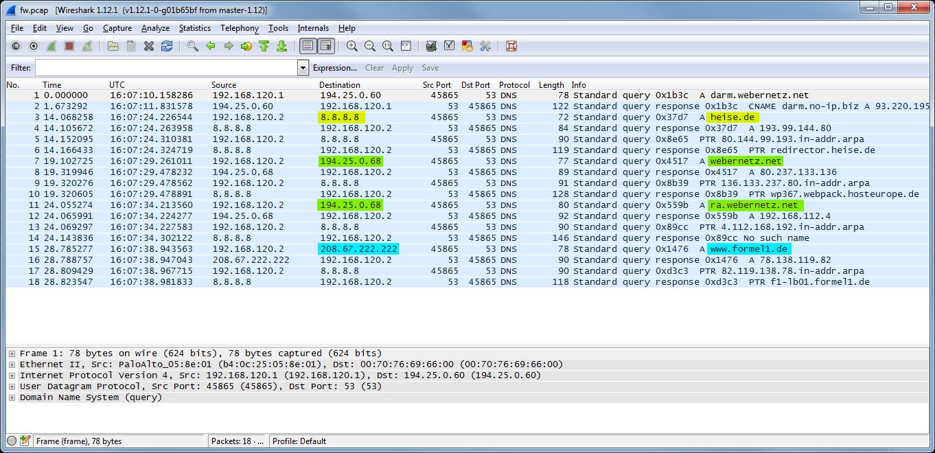 DNS-Proxy Test Wireshark