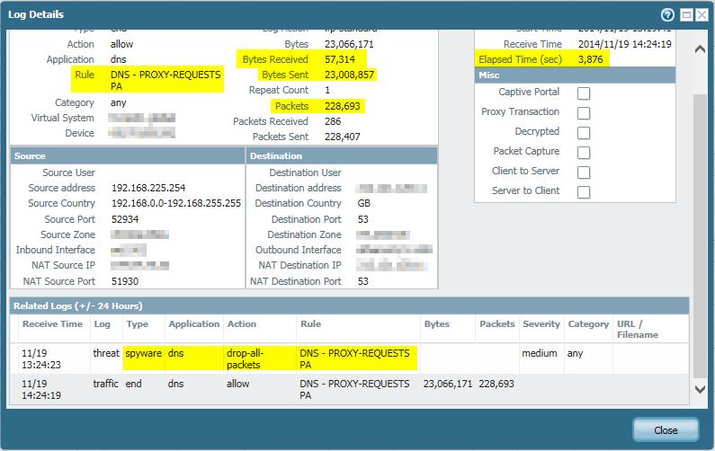 Palo Alto DNS Proxy malicious request spyware