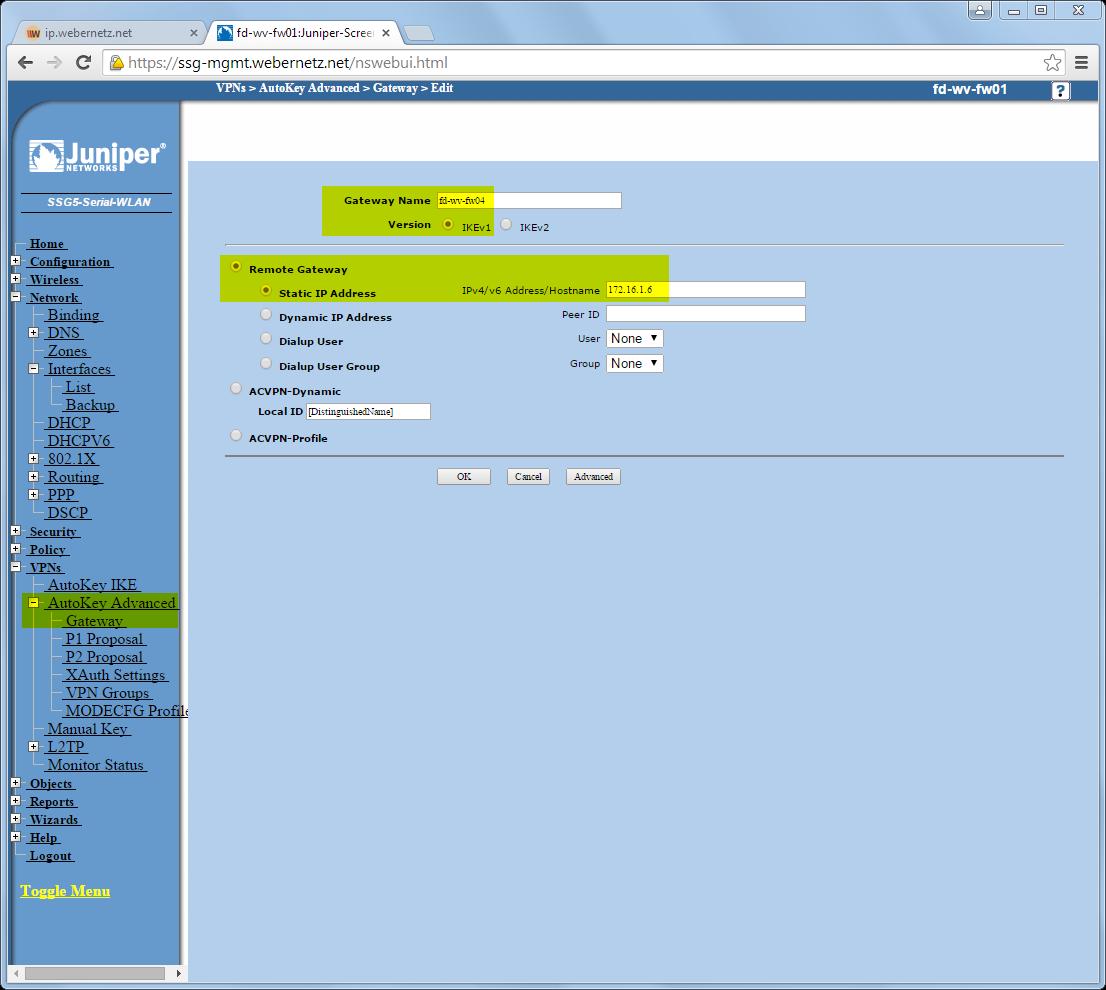 IPsec Site-to-Site VPN FortiGate Juniper SSG | Blog Webernetz net
