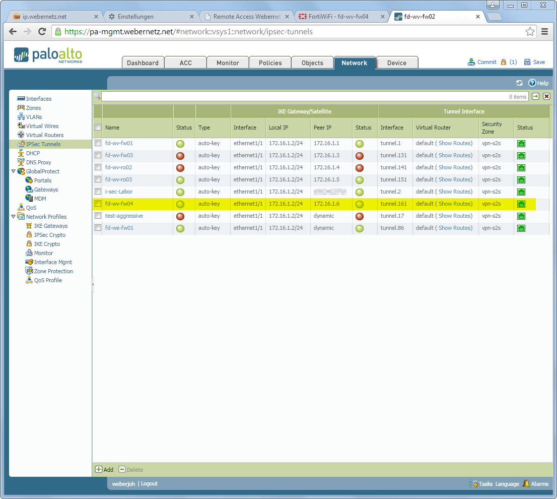 IPsec Site-to-Site VPN Palo Alto FortiGate | Blog Webernetz net