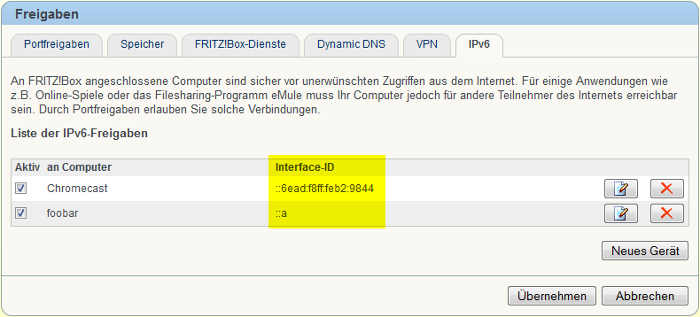 FRITZ!Box IPv6 Freigaben Interface-ID
