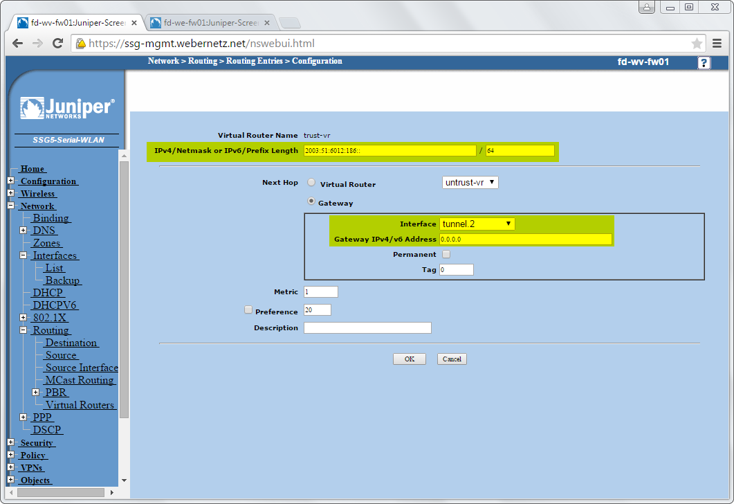 ScreenOS IPv6 through IPv4 tunnel – 02 static route | Blog Webernetz net