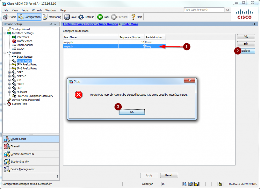 Cisco ASA PBR 09 trying to delete a route map statement