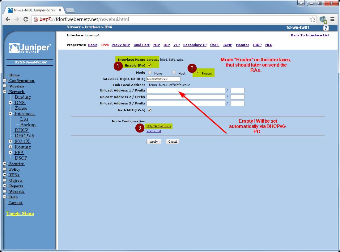 Juniper ScreenOS: DHCPv6 Prefix Delegation | Blog Webernetz net