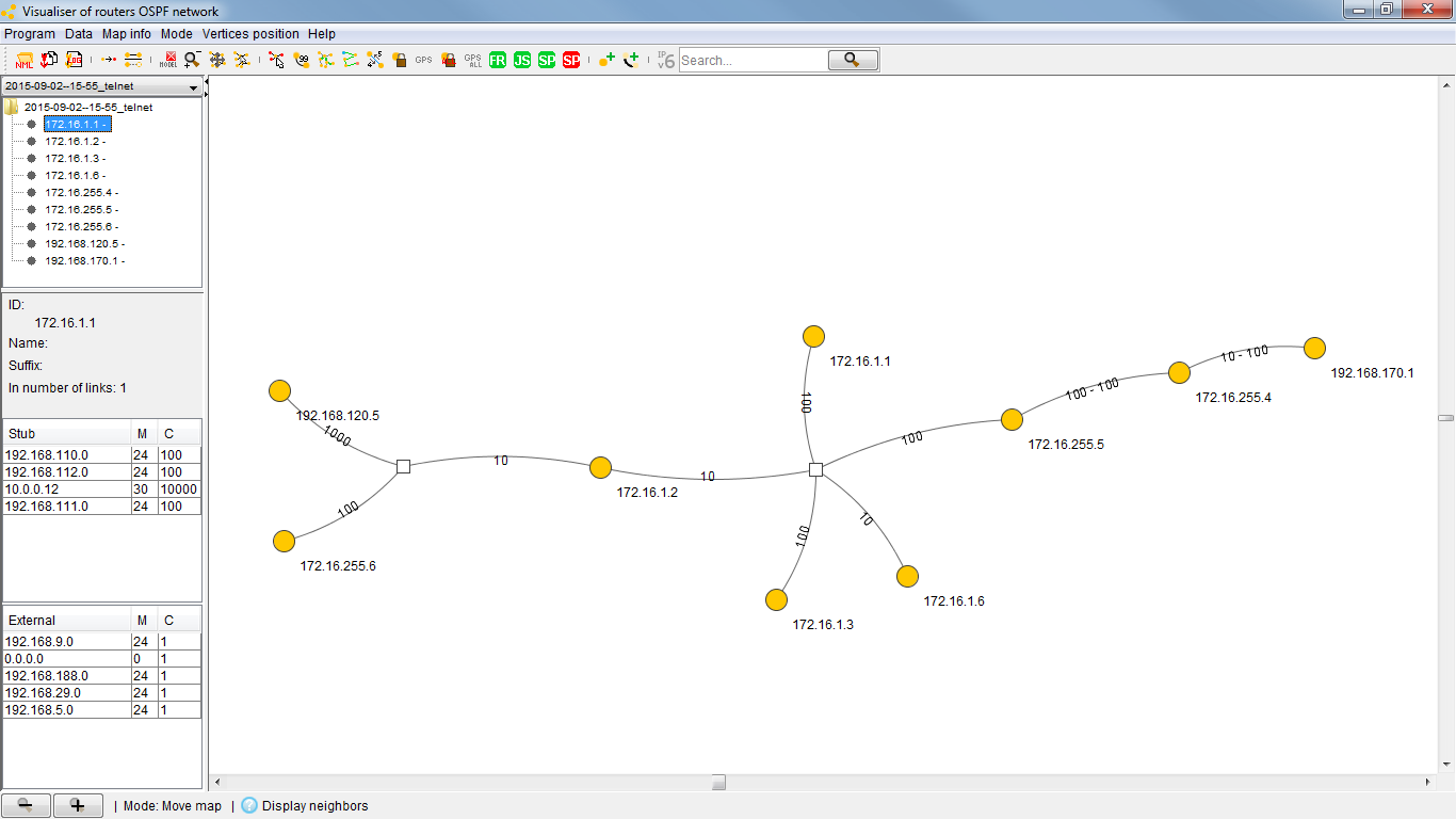 Ospf Visualizer Blog Webernetznet Cisco Router Diagram The On Left Hand Side 1921681205 Is My Quagga This Screenshot Shows That No Other Networks Are Connected To