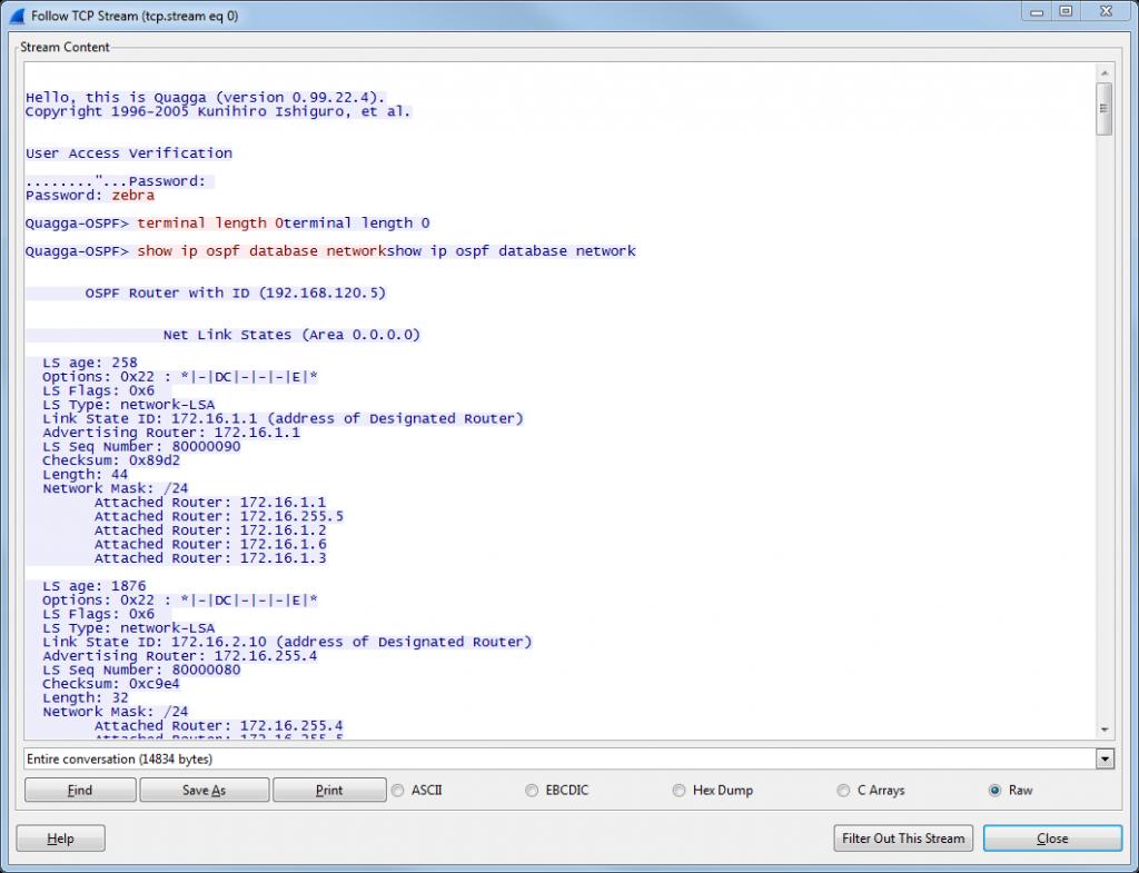 OSPF Visualizer 05 TCP Stream Quagga