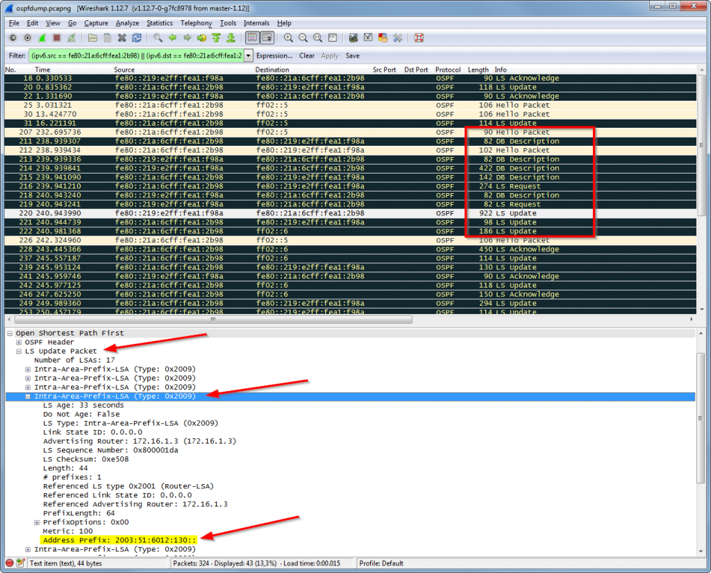 OSPFv3 Wireshark Dump: Hello, DBD, LSR, LSU (with LSA), LSAack