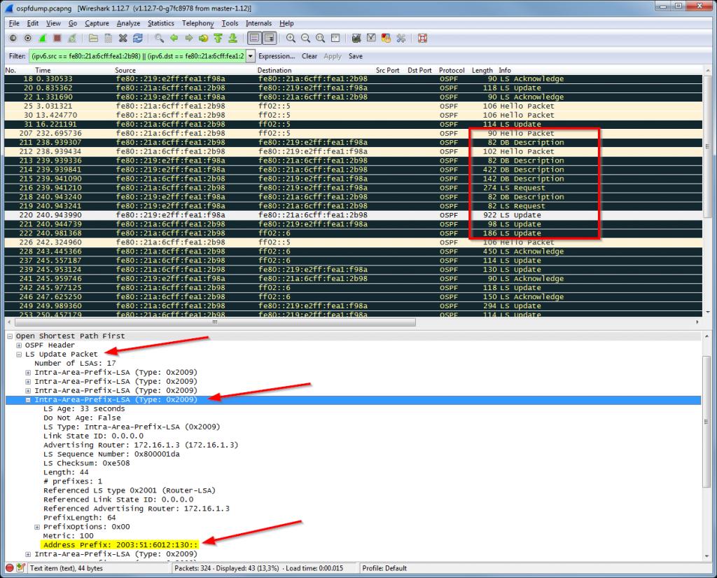 OSPFv3 Wireshark Dump: Hello, DBD, LSR, LSU (with LSA), LSAack