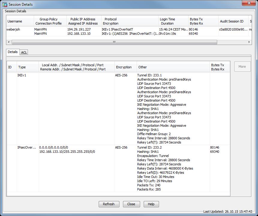 Cisco ASA Session Details