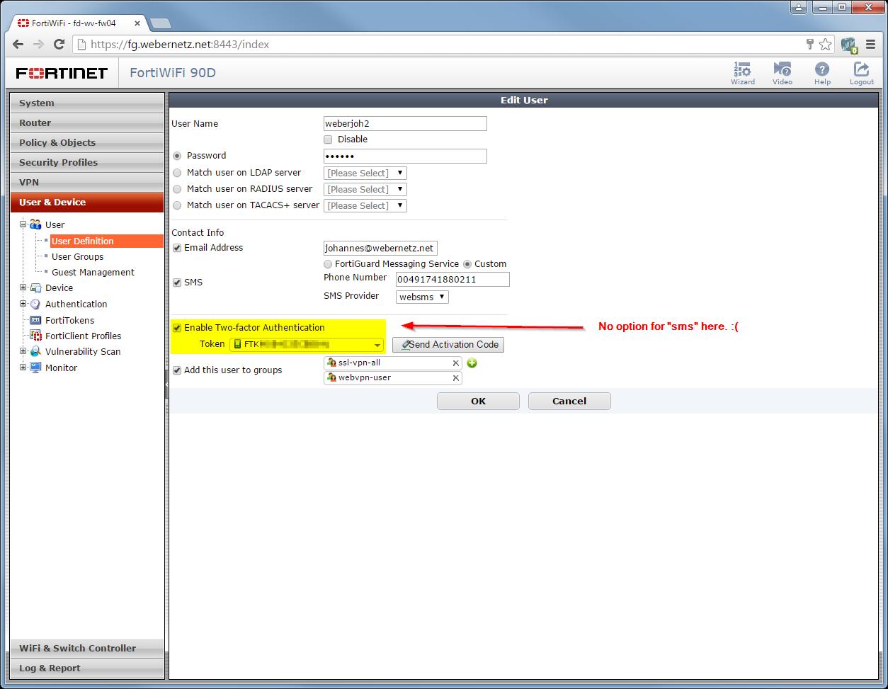 FortiGate 2-Factor Authentication via SMS | Blog Webernetz net