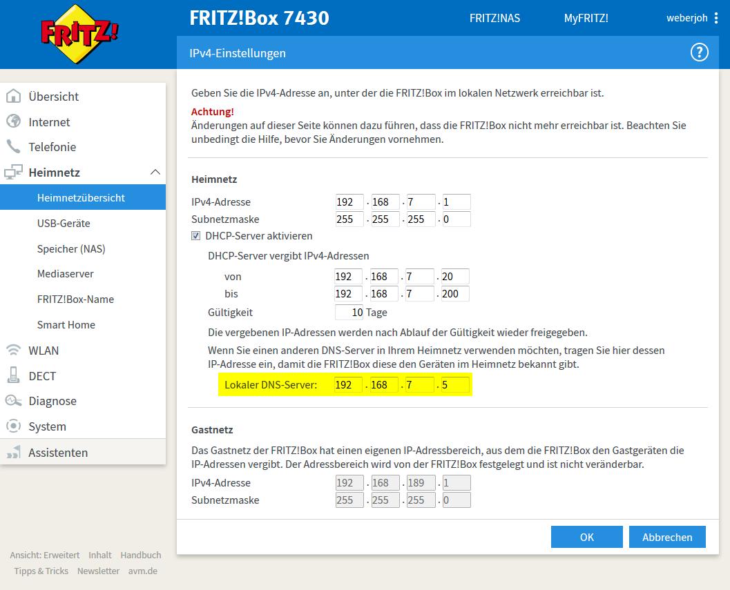 Fritzbox 7590 Dns Server ändern