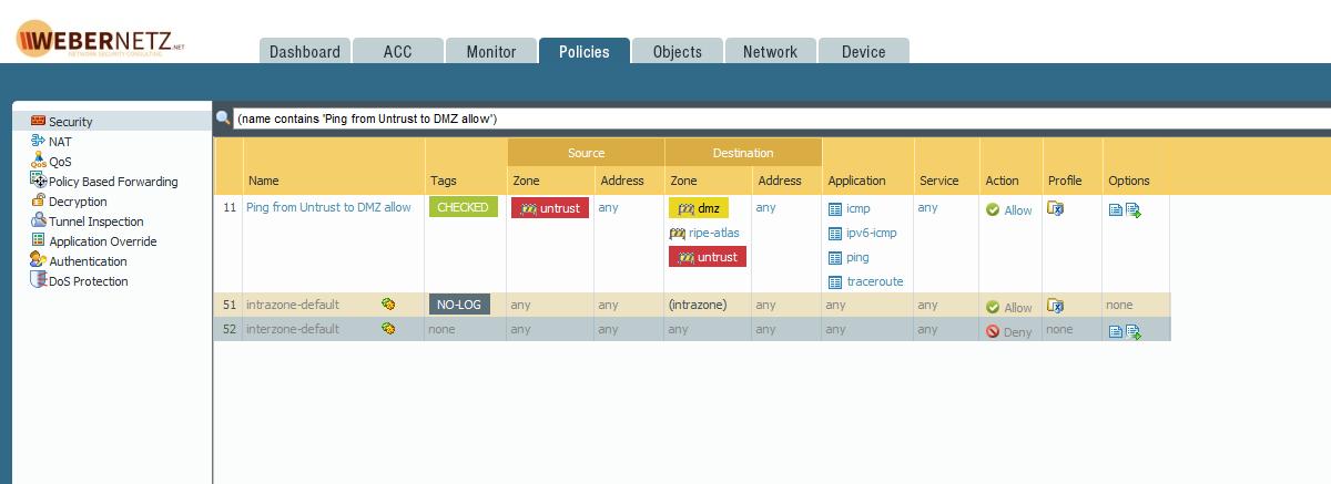 Palo Alto Application: First Packets Will Pass! | Blog Webernetz net