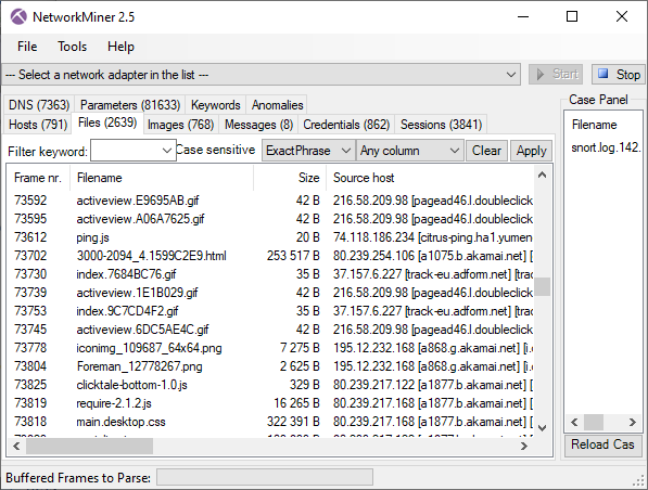Files tab in NetworkMiner 2.5