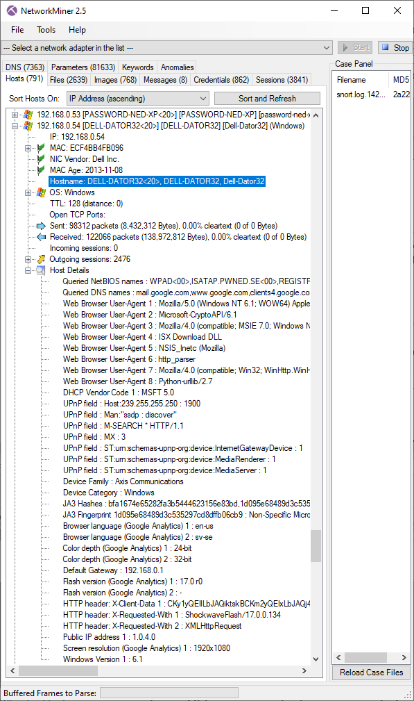 Host details in NetworkMiner 2.5